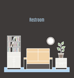 restroom interior design in line style vector image