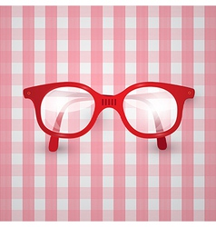 Retro Background - Old Glasses on Pink Tablecloth vector image