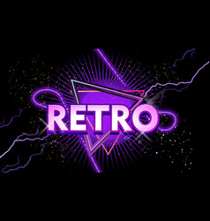 retro banner with neon light vector image