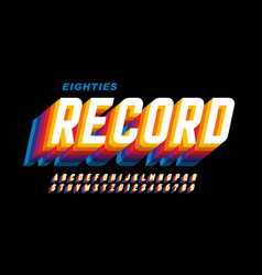 Retro eighties style font alphabet letters vector