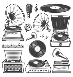 retro gramophone icons set vector image
