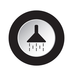 Round black and white button - shower icon vector