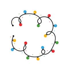 round frame tangled christmas lights vector image