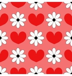 Seamless background with hearts and chamomiles vector image