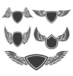 set empty emblems with wings design vector image