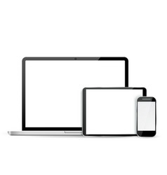 Set laptop tablet and mobile phone vector