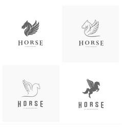 set of pegasus logo template horse logo template vector image