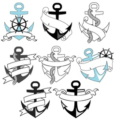 set of sea anchors vector image