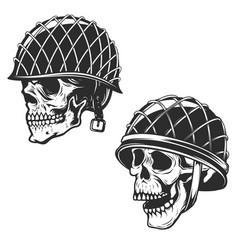 Set soldier skull in military helmet design vector