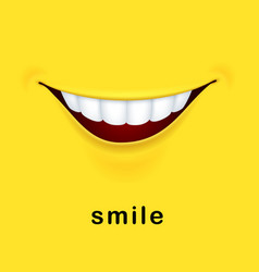 smile yellow background with realistic smiled vector image