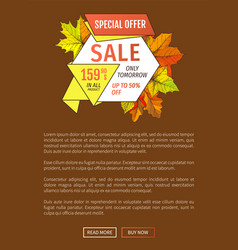 Special offer sale only tomorrow fifty percent off vector