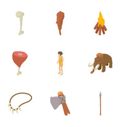 Study of prehistoric icons set isometric style vector