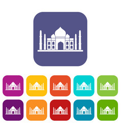 Taj mahal icons set flat vector