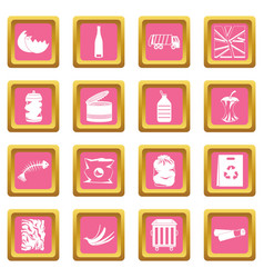 waste and garbage icons pink vector image