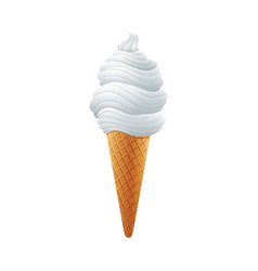 White milk soft serve ice cream isolated on white vector