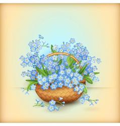 Wicker basket with flowers vector image vector image