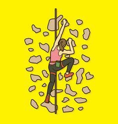 Woman climbing on the wall hiking indoor vector