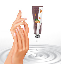 Woman hands with almond hand cream vector