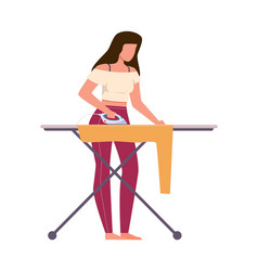 woman ironing clothes female character vector image