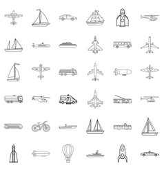 yacht icons set outline style vector image