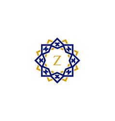 z initial letter logo with luxury ornament vector image