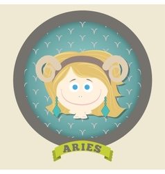 Zodiac signs collection Cute horoscope - ARIES vector