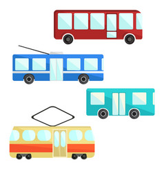 city public transport set bus trolley and tram vector image vector image