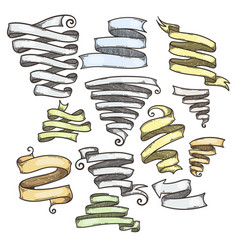 collection of vintage ribbon hand drawn doodle vector image