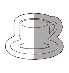 figure coffee cup and plate icon vector image