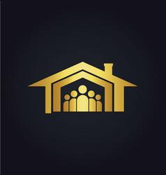 home family icon gold logo vector image vector image