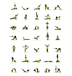 People practicing yoga poses for your design vector image vector image