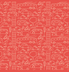 red seamless transport pattern vector image vector image