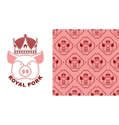 Royal Pork logo Pig in crown Logo for production vector image