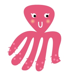 Cute beautiful pink Octopus isolated on white vector image