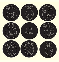 cute faces abstract avatar set funny humor vector image vector image