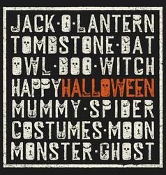 Halloween words decorative poster grunge stamp vector