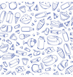 monochrome hand drawn dairy products vector image vector image