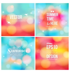 Set of soft blurry backgrounds with bokeh effect vector image vector image