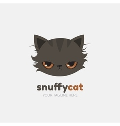 Snuffy cat logo template vector image