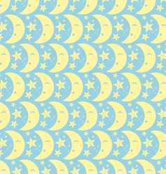 Yellow happy cute moon and star pattern on pastel vector