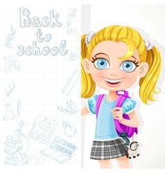 Cute schoolgirl hold big banner vector image vector image