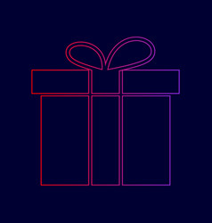 gift box sign line icon with gradient vector image