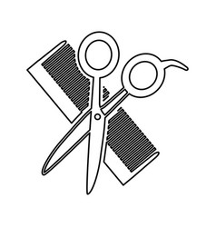 hairdresser scissors with comb isolated icon vector image vector image