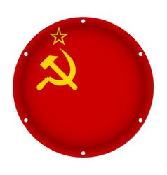 round metallic flag of soviet union screw holes vector image
