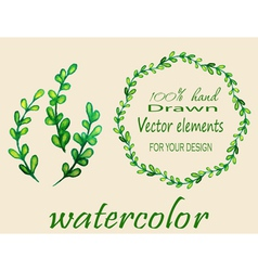 Set of watercolor branches vector image