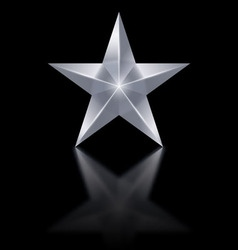 Silver star on black background vector image