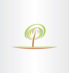 stylized green tree eco symbol design vector image