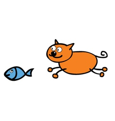 Cat chasing fish vector image vector image