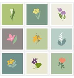 Flower logo templates set vector image vector image