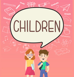 girls and boys pupils with children on speakbubble vector image